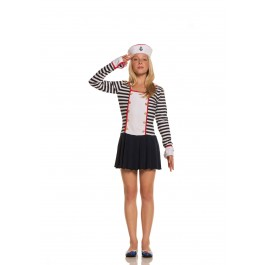 Sailor-2 Pc. Costume Includes Long Sleeve Mini Dress With Collar And Hat