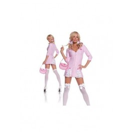 Cute Candy Striper-3 Pc. Costume Includes Dress, Hair Ties And Purse