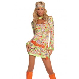 Women's Groovy Chick-3 Pc. Costume Includes Dress, Belt And Head Piece