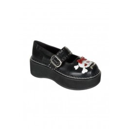 2 Inch Platform Mary Jane Shoe With Bow Skull Head
