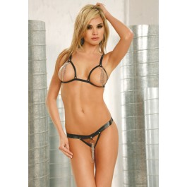 2 Piece Leather String Bra With Chain Front And Matching G-String
