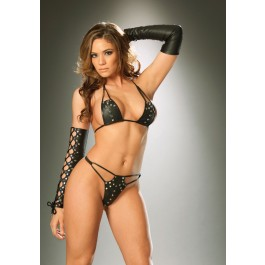 Leather String Bra Top And G-String With Nail Heads