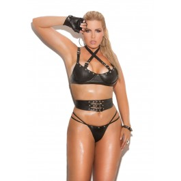 3 Piece Set Leather Underwire Bra