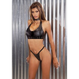 2 Piece Leather Cami Top And Thong