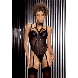 Plus Size Leather And Fishnet Underwire Teddy With Thong Back, Detachable Garters