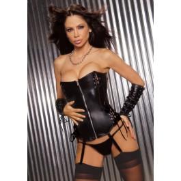 Women's Leather Zip Front Corset And Garters