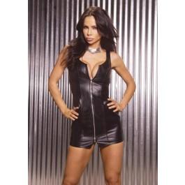 Plus Size Zip Front Leather Mini Dress