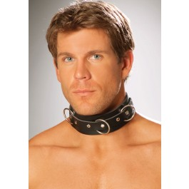 Leather Collar With O Rings And Nail Heads