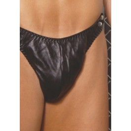 Men's Leather Thong With Side Snaps