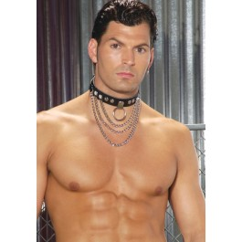 Leather Collar With Chains And O Ring