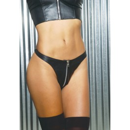 Zip Up Leather Thong
