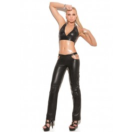 Leather Pants With Chain Detail And Back Zipper Closure.