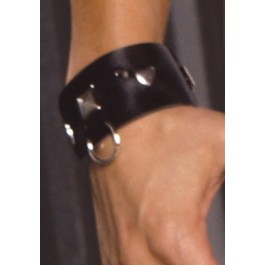 Leather Wrist Cuffs With Square Nail Heads And O Rings.