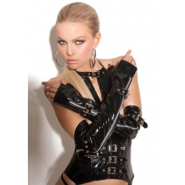 Fingerless Vinyl Gloves With Zipper And Buckle Detail.