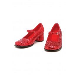 Children's 1.75 Inch Heel Red Glitter Mary Jane