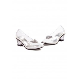 Children's 2 Inch Heel Clear With Silver Glitter Heart Slipper