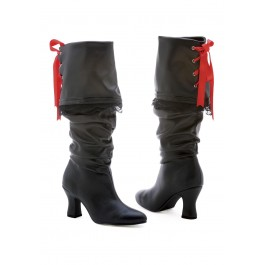 Women's 2 1/2 Inch Heel Knee High Boot With Contrast Ribbon Lacing On Back