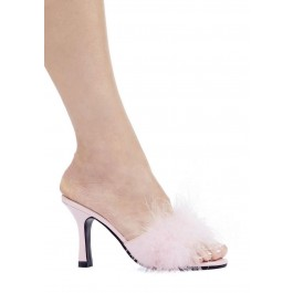 3.5 Inch Heel Marabou Slippers Women'S Size Shoe With Matching Marabou Feathers