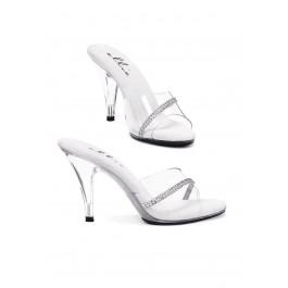4 Inch Heel Clear Mule Women'S Size Shoe With Rhinestones
