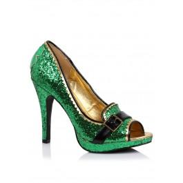 4 Inch Heel Green Glitter Peep-Toe Pump