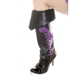 4 Inch Heel Pirate Boot Women'S Size Shoe With 3 Ribbons And Foldover