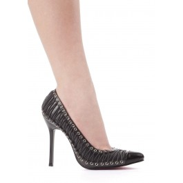 4 Inch Heel Pump Women'S Size Shoe With Eyelet And Lacing Detail