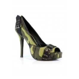 4 Inch Heel Open Toe Pump