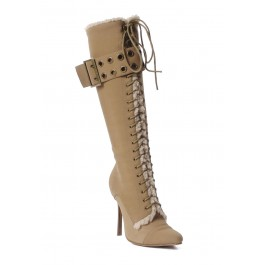 4 Inch Heel Knee High Boot Women'S Size Shoe With Eyelet Buckle And Lace-Up