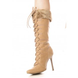 4 Inch Heel Knee High Boot Women'S Size Shoe With Stiletto Heel And Fur