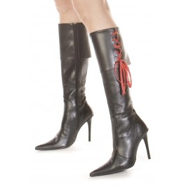 Women's 4 Inch Heel Foldover Knee Boot With Pointy Toe And Ribbons