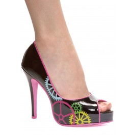 4 Inch Peep Toe Pump With Gear Details