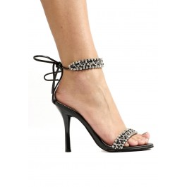 Women's 4.5 Inch Heel Closed Heel Sandal With Rhinestone Detailed Ankle Strap