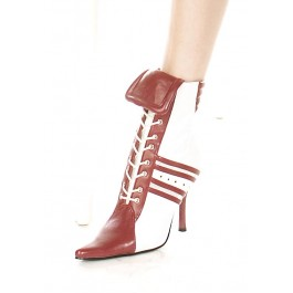 4.5 Inch Heel Ankle Boot Women'S Size Shoe With Contrasting Referee Stripes