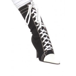 Women's 4.5 Inch Stiletto Heel Sneaker Ankle Boots With Contrasting Pointy Toe