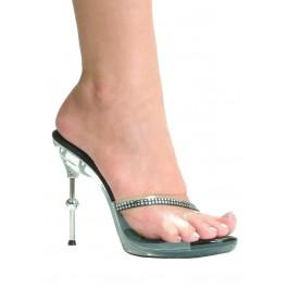 Women's 4 1/2 Inch Metallic Heel Mule With Rhinestone Strap Detail