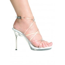4.5 Inch Metallic Heel Strappy Sandal Women'S Size Shoe With Clear Jelly Lacing Wrap-Up