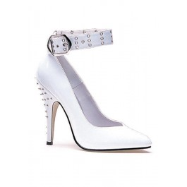 Women's 5 Inch Heel Closed Toe Pump With Rivets On Heel And Attached Ankle Cuff