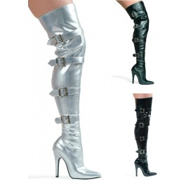 5 Inch Heel Stretch Thigh Boot Women'S Size Shoe With Buckles And Inner Zipper