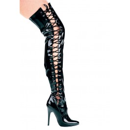 5 Inch Heel Thigh High Stretch Boot Women'S Size Shoe With Side Laces