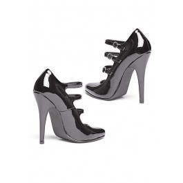 5 Inch Heel Strappy Pump Women'S Size Shoe With Closed Toe And Triple Strap
