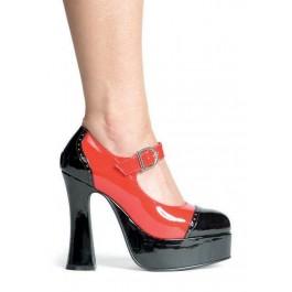 Women's 5 1/2 Inch Chunky Heel Two Tone Mary Jane