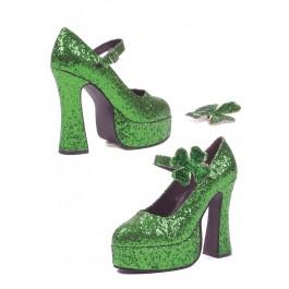 Women's 5 Inch Chunky Heel Green Glitter Mary Jane