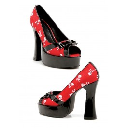 5 Inch Chunky Heel Pump Women'S Size Shoe With Satin Skull Print And Peep Toe
