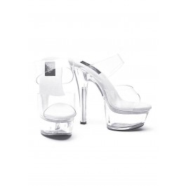 6 Inch Heel Clear Sandal Women'S Size Shoe With Double Strap And 2 Inch Platform