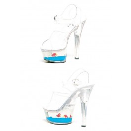 6 Inch Heel Clear Sandal Women'S Size Shoe With Floating Fish