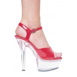 6 Inch Heel Sandal Women'S Size Shoe With Clear Bottom And Ankle Strap