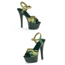 6 Inch Heel Sandal Women'S Size Shoe With Camouflage Fabric