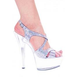 Women's 6 Inch Heel Glitter Strappy Platform Sandal