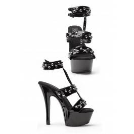 6 Inch Heel Sandal Women'S Size Shoe With Attached Ankle Cuff, T-Strap, And Rivets