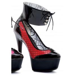 6 Inch Stiletto Heel Lace Up Ankle Cuff Platform Pump